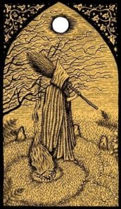 Witch broom with his hands